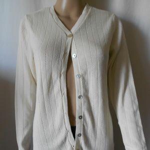 Pierre Cardin Cardtigan Creme Sweater Size Medium